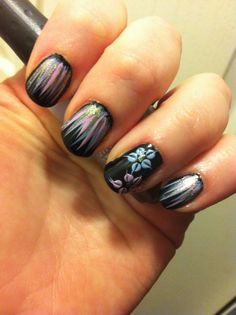Waterfall nails with flower accent