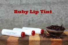 recipe for Ruby Lip Tint. An all natural, amazing recipe for an easy to make kitchen cosmetic that enhances your natural lip color. Made with Alkanet Root Homemade Cosmetics Diy, Homemade Beauty Products, Lip Products, Bath Products, Homemade Lip Balm, Diy Lip Balm, Homemade Deodorant, Natural Lip Colors, Natural Lip Balm