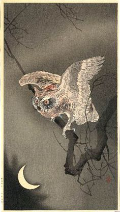 hanga gallery . . . torii gallery: Owl and Crescent Moon by Ohara Koson