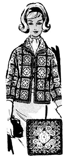 PDF Crocheted Jacket 844 sizes 32-38 Pattern PDF