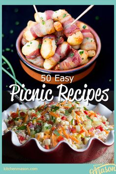 If you're looking for picnic food ideas and inspiration - this picnic foods list is the one for YOU! Filled with everything from sandwiches to snacks and treats to salads, these easy picnic recipes are sure to please everyone! Click for all the recipes plus your FREE e-cookbook! Easy Potluck Recipes, Picnic Recipes, Easy Snacks, Side Dish Recipes, Picnic Food List, Picnic Snacks, Picnic Foods, Easy Main Course Recipes, Dinner Party Starters