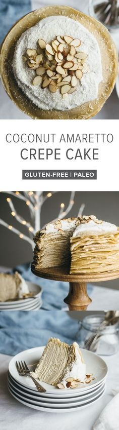 (gluten-free, paleo) Coconut amaretto crepe cake. Made with cassava flour crepes and filled with a coconut amaretto buttercream.