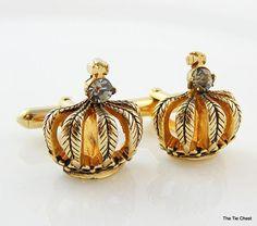 Great set of cufflinks. Vintage Gold Tone Crown Cufflinks with Rhinestones | The Tie Chest