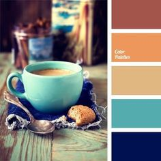 Warm, cozy and fresh color palette. Possibly for living room. It perfectly combines the opposing carrot, turquoise and deep blue colors, yet does not seem contrast. Colour Pallette, Colour Schemes, Color Combinations, Blue Palette, Interior Design Kitchen, Home Design, Café Branding, Kitchen Color Palettes, Paint Palettes