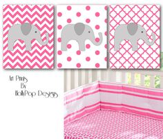 Baby Girl Nursery Wall DecorHarper Bright Pink by HollyPopDesigns, $35.00