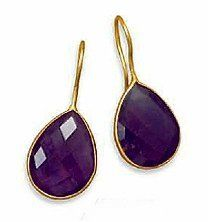 14K Gold Plated Sterling Eurowire Earrings, 14.7x19mm Faceted Pear Shape Amethyst, 1-3/8 inch Silver Messages. $54.99. Save 31%!