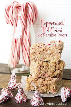 Peppermint Hot Cocoa Rice Krispie Treats | Christmas Desserts