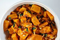 Kosher for Passover roasted butternut squash tossed with sauteed garlic, sage and pine nuts. The perfect side dish for your Passover seder.