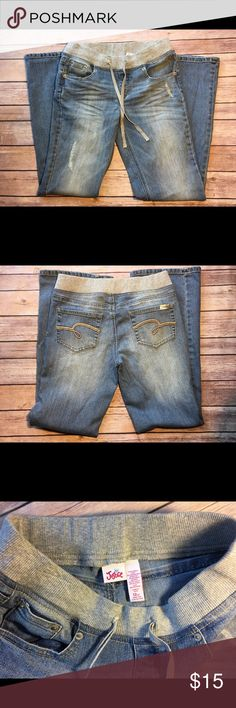 Girls Justice jeans 12 1/2 elastic waist bootcut In excellent condition no stains rips or holes. Justice Bottoms Jeans
