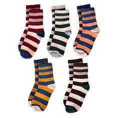 $10 for 5 pairs = $2/pair - Flanhiri Kids Boys Striped Cotton Crew Socks 5 Pack (5 pairs, L (6-9 Years))