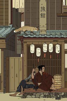 A Moment Of Respite Mini Art Print by Cassandra Jean - Without Stand - x Samurai, Character Art, Character Design, Cassandra Jean, Japon Illustration, Academic Art, Japanese Art, Framed Art Prints, Art Reference