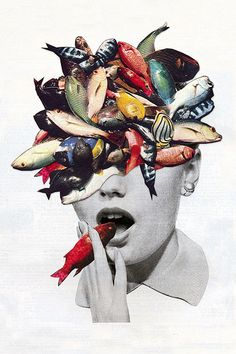 Hair, fish, smoky cigarettes… these are the wonderfully weird collages of California based artist Eugenia Loli. Her portfolio is literally full of bizarre/beautiful compositions, which just so happens Collage Kunst, Art Du Collage, Fish Collage, Dada Collage, Surreal Collage, Digital Collage, Art Collages, Digital Art, Arte Pop