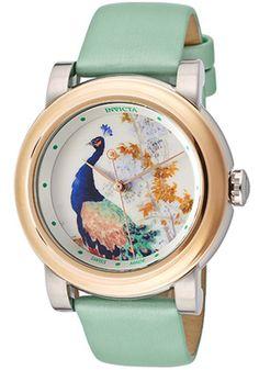 Invicta 12132 Watches,Women's Angel White/Peacock Image Dial Light Green Genuine Leather, Women's Invicta Quartz Watches