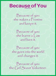 Girl Scouts of Nassau County: Because of You the Girl Scout Volunteer