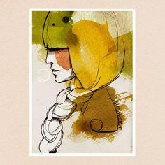 """Susurrer"" #illustration #watercolor #ink #pencil #face #portrait #susurrer #lesfilles #series #fineartprint #etsy #braid #girl #artwork #ekaterinakoroleva #berlin (hier: Berlin)"