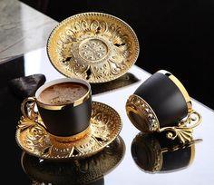 Turkish Coffee Set, Arabic Coffee, Turkish Tea, Coffee Cup Set, Coffee Cups And Saucers, Cup And Saucer Set, Tea Cups, Korean Coffee, Coffee Mugs