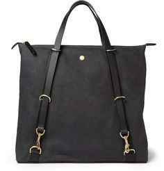 Mismo Leather-Trimmed Waxed-Canvas Tote Bag | MR PORTER