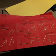 Modeling lines and angles using toothpicks... Students describe each in an index card glued to the back