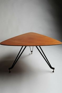 Anonymous; Teak, Enameled Steel and Brass Occasional Table, 1950s.