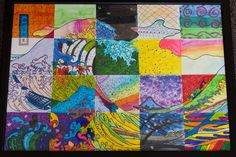G5 collaborative art project - Hokusai's Great Wave off Kanagawa, gridded, cut into squares for each student to color in with mixed media; could be done with any large image