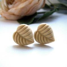 Khaki Leaf Stud Earrings, $9