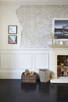 exposed brick and jagged edge with panelled half