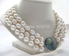 """YH@CS >>>17-19"""" 3row 14mm white baroque rice freshwater pearl necklace - abalone shell #Affiliate"""