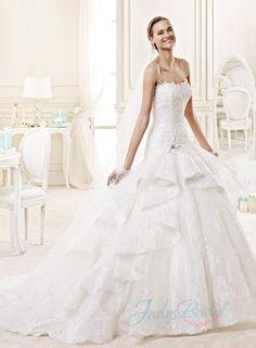 Fantastic cascade princess ball gown lace wedding dress