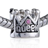 Pugster Pink Crystal Queen Crown Silver Plated Style Pandora Bead$10.99
