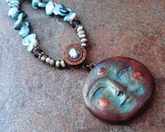 Handmade Necklace Magical Raku Moonface Pendant by JensFancy, $125.00