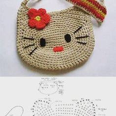 Free crochet diagram for Hello kitty bag Bolsito Hello Kitty a crochet - diagram, instructions would have to be translated Bolsito Hello Kitty a crochet. I would do the kitty in white and the bow, etc in pink Bolsito Hello Kitty a crochet . _ from life is Love Crochet, Crochet Gifts, Crochet For Kids, Crochet Baby, Crochet Toys, Baby Knitting, Cat Crochet, Crochet Fabric, Hello Kitty Crochet