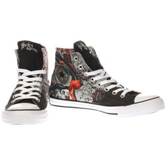 Womens Black & Red Converse All Star Hi Harley Quinn Hi Trainers ($72) ❤ liked on Polyvore featuring shoes, sneakers, red trainers, red sneakers, converse trainers, black trainers and kohl shoes