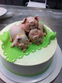 Oh my goodness, it's a Piggy Pile Cake, Edible Art. Karen Portaleo