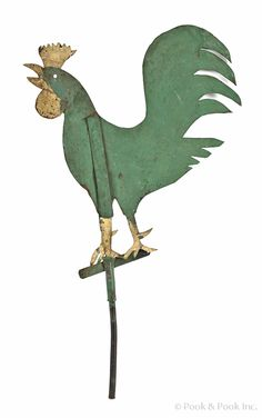 Painted zinc sheet weathervane, early C Rooster Decor, Weather Vanes, Chickens And Roosters, Rare Birds, Coq, Recycled Art, Yard Art, Primitives, Zinc Sheet