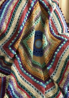 Stitch Sampler Afghan in Scraps - Crocheted Throw Blanket