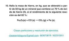 Ejercicio 10. Tema: Rendimiento (reacciones químicas)