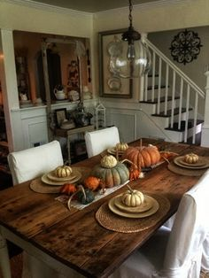 10 yard sale find antique farm table and fall tablescape, painted furniture, seasonal holiday decor