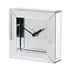 Small Clear Mirror & Glass Mantel Clock