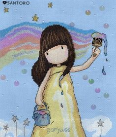 Gorjuss Rainbow Dreams Cross Stitch Kit £25.00 | Past Impressions | Bothy Threads