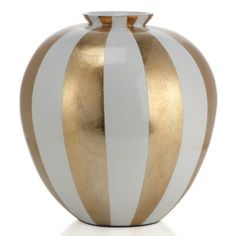 "Raya Vase - 14.5""H - Gold from Z Gallerie  $50  Take a bold, definitive stand on creating stylish decor by giving our fashionable Raya vase a place of importance in a room. Available exclusively at Z Gallerie, the large rounded vase is handcrafted of sustainable lightweight bamboo and finished with a glossy lacquer of broad Gold and White stripes.    Dimensions:  13""D x 14.5""H"
