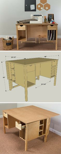 Whether you're working on craft projects, sewing, or pursuing another hobby, this craft table offers a large work surface that can be expanded when you need even more room. Plus this table has storage for all of your supplies. Download the free plans at buildsomething.com