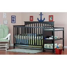 $208.99 Dream on Me Chloe 4-in-1 Convertible Fixed-Side Crib with Changer, Choose Your Finish