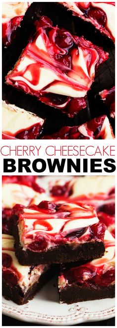 Cherry Cheesecake Brownies are one of the BEST brownies you will make! Three amazing desserts combine in one to bring you a creamy delicious and rich brownie!(Dessert Recipes To Try) Brownie Desserts, Cheesecake Brownies, Brownie Recipes, Cheesecake Recipes, Fun Desserts, Delicious Desserts, Yummy Food, Cherry Desserts, Brownie Cherry Cheesecake Recipe