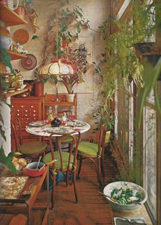 Rustic Home Interior Leafy dining. Storage A House and Garden Book Melinda Davis Pantheon Books New York Home Interior Leafy dining. Storage A House and Garden Book Melinda Davis Pantheon Books New York 1978 Bohemian Interior, Bohemian Decor, Bohemian Kitchen, Bohemian Room, Hippie House Decor, Hippie Kitchen, 1920s Interior Design, Bohemian Furniture, Bohemian House