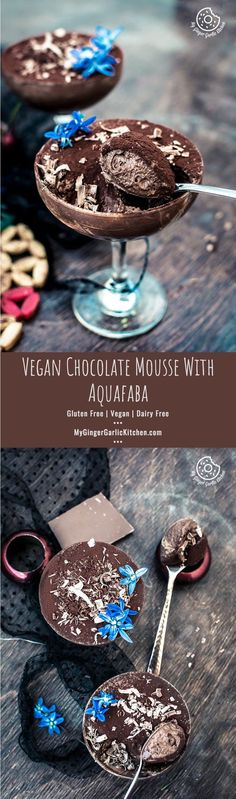 Vegan Chocolate Mousse With #Aquafaba. This beautiful vegan mousse is super airy and creamy, and it would be really hard for you to believe that there are no egg whites, or cream, or gelatin. From: mygingergarlickitchen.com/ #Vegan #Chocolate #Desserts #Glutenfree #Vegetarian #Mousse #Chickpea