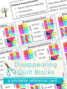 Printable Disappearing Quilt Block Reference cards   free   patchwork posse