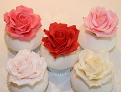 The Clever Little Cupcake Company - : Yahoo Image Search Results Fondant Rose, Fondant Cupcakes, Cupcake Cakes, Cup Cakes, Ruby Wedding Cake, Wedding Cakes With Cupcakes, Floral Cupcakes, Pretty Cupcakes, Anniversary Cupcakes