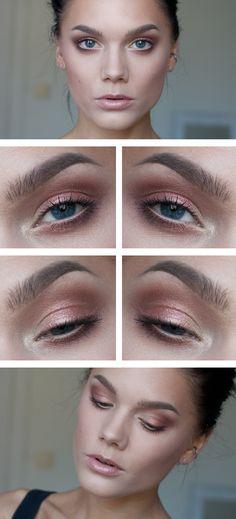 Hej hopp! Jag matchade min nya solbränna med en fräsch vardagslook! Jag har använt/I've used NYX HD eyeshadow... Makeup Without Eyeliner, Gold Makeup, Peach Eye Makeup, Prom Makeup, Eyeshadow Looks, Rose Gold Eyeshadow, Eyeshadow Base, Haar Make-up, Everyday Makeup