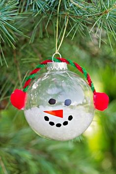DIY Tutorial: DIY Christmast Crafts / DIY Christmas Snowman Ornament Craft Made With Clear Glass Balls - Bead&Cord