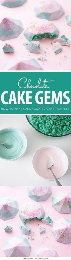 Cake Gems - how to make gem-shaped chocolate truffles filled with cake   by Cakegirls for TheCakeBlog.com